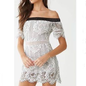 NWT Forever21 Off Shoulder White Lace Dress L